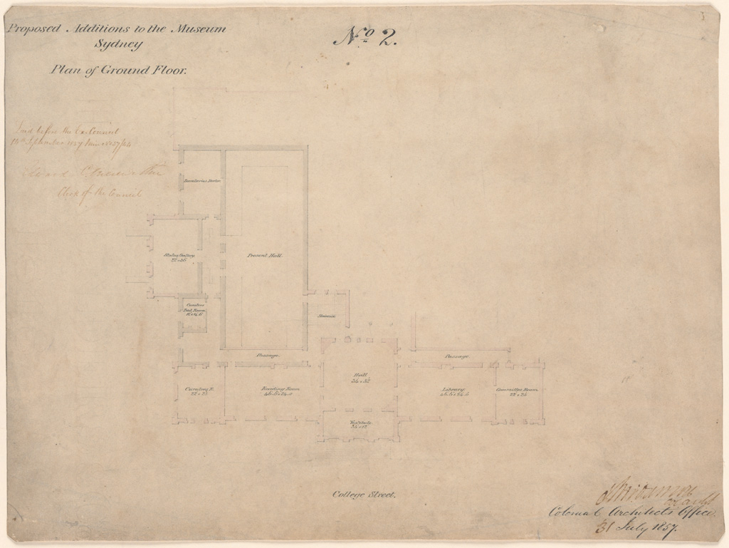 Sydney Proposed Additions to the Museum Sydney. Plan of Ground Floor