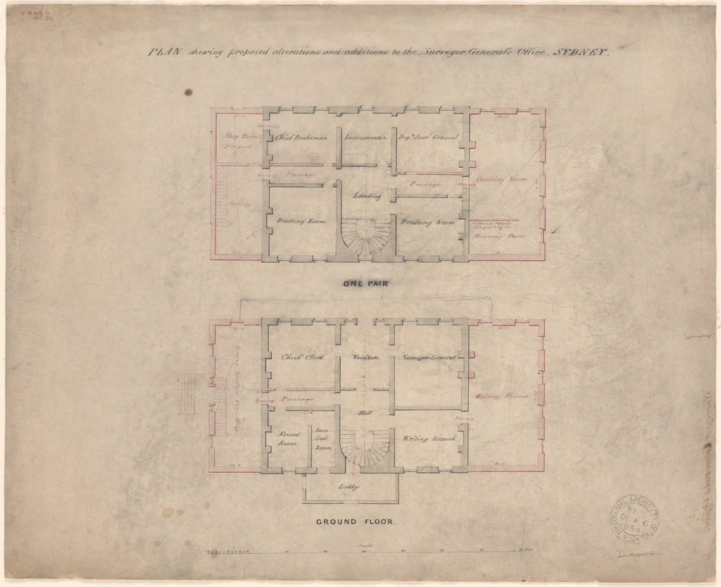 Sydney Plan shewing proposed alterations and additions to the Surveyor General's Office