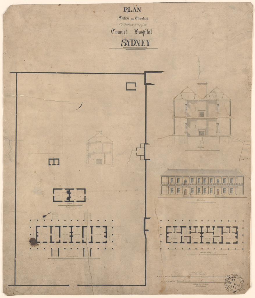 Sydney Plan Section and Elevation of the South Wing of the Convict Hospital Sydney