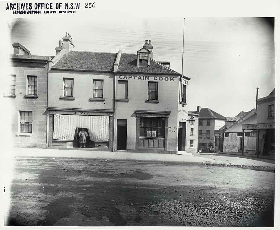 J. Boyce (Bootmaker & Storekeeper) next to Captain Cook Hotel on the corner of Kent Street and Miller's Road, The Rocks (NSW)