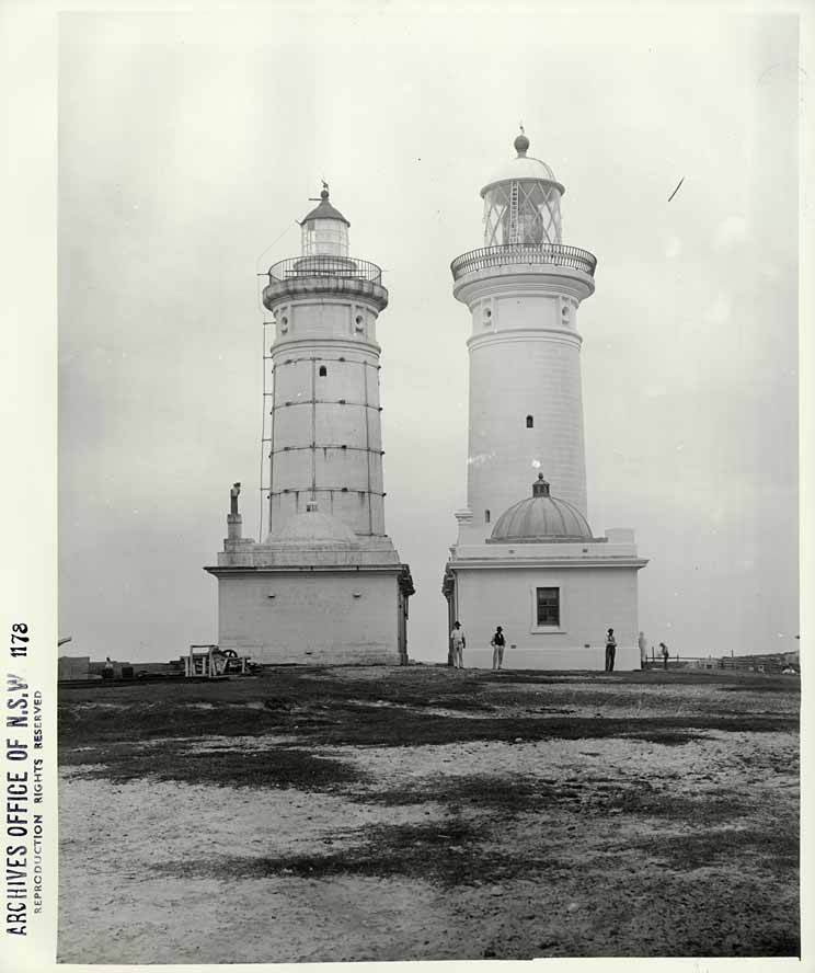 Macquarie Lighthouse [showing original and current lighthouses]  at South Head, Sydney (NSW)