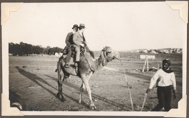 Broken Hill - E.N.H, T.J.S [on camel and Abdul leading camel]
