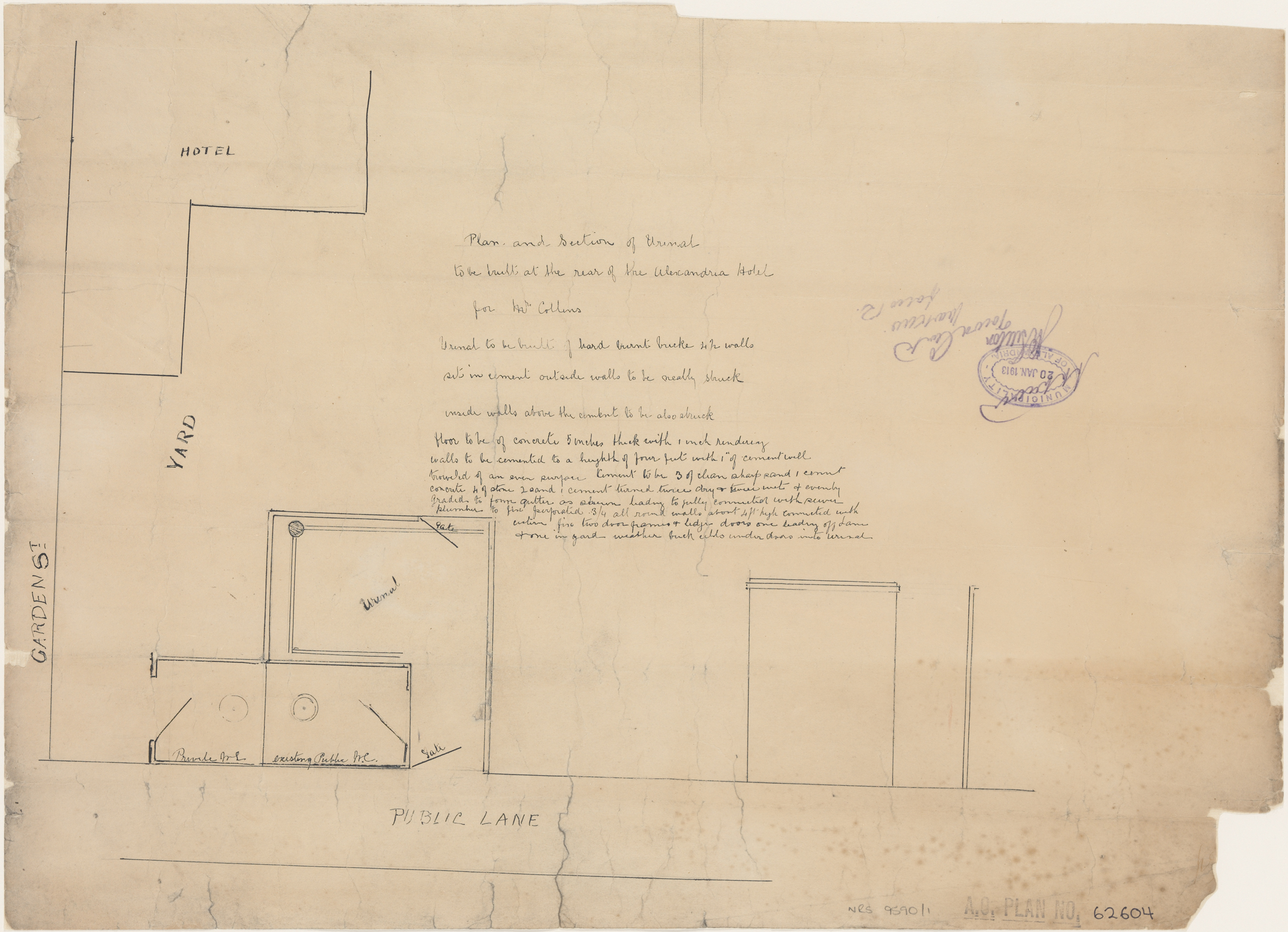 Alexandria Hotel, Garden Street, Alexandria, Plan and section of urinal.  Applicant/owner, Mr Collins, Approved and stamped Municipality of Alexandria, 20 January 1913