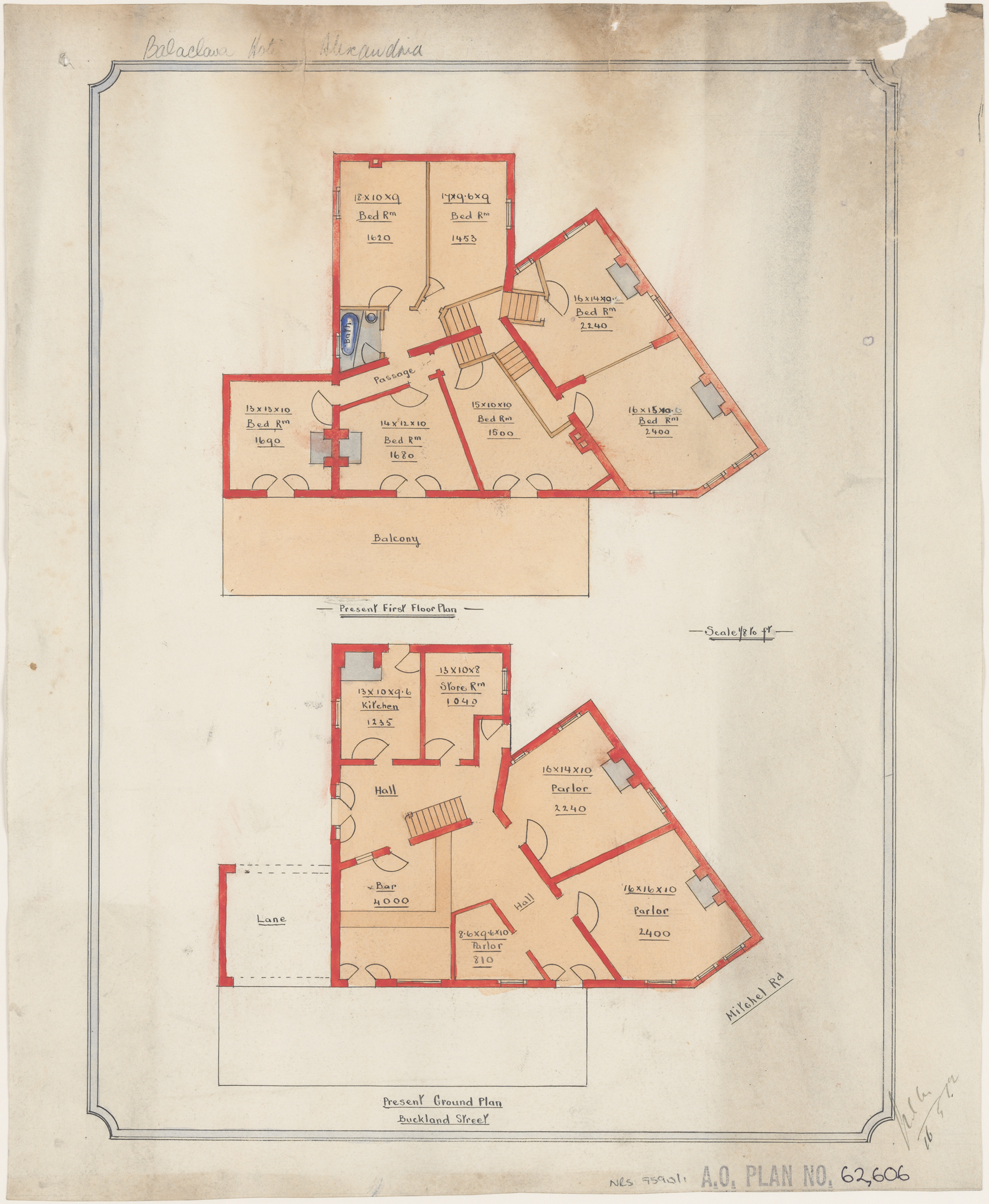 Balaclava Hotel, Buckland Street and Mitchell Road, Alexandria, Present ground and first floor plans, signed 16 May 1912