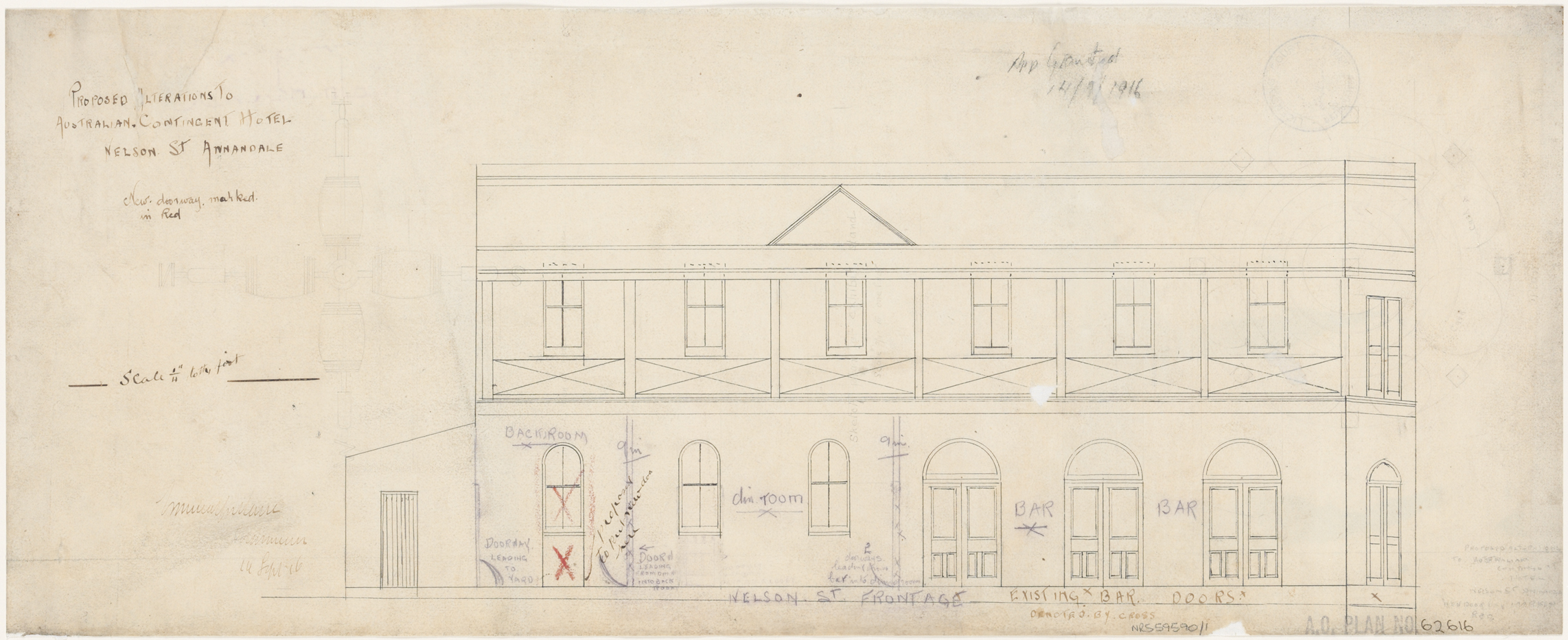 Australian Contingent Hotel, Nelson Street, Annandale, Proposed alterations, floor plan Nelson Street frontage.  Application granted 14 September 1916