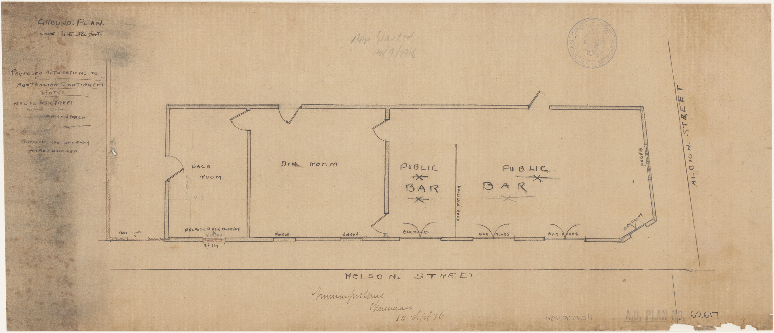 Australian Contingent Hotel, Nelson Street, Annandale, Proposed alterations, ground floor plan.  Lodged 6 September 1916, Application granted 14 September 1916