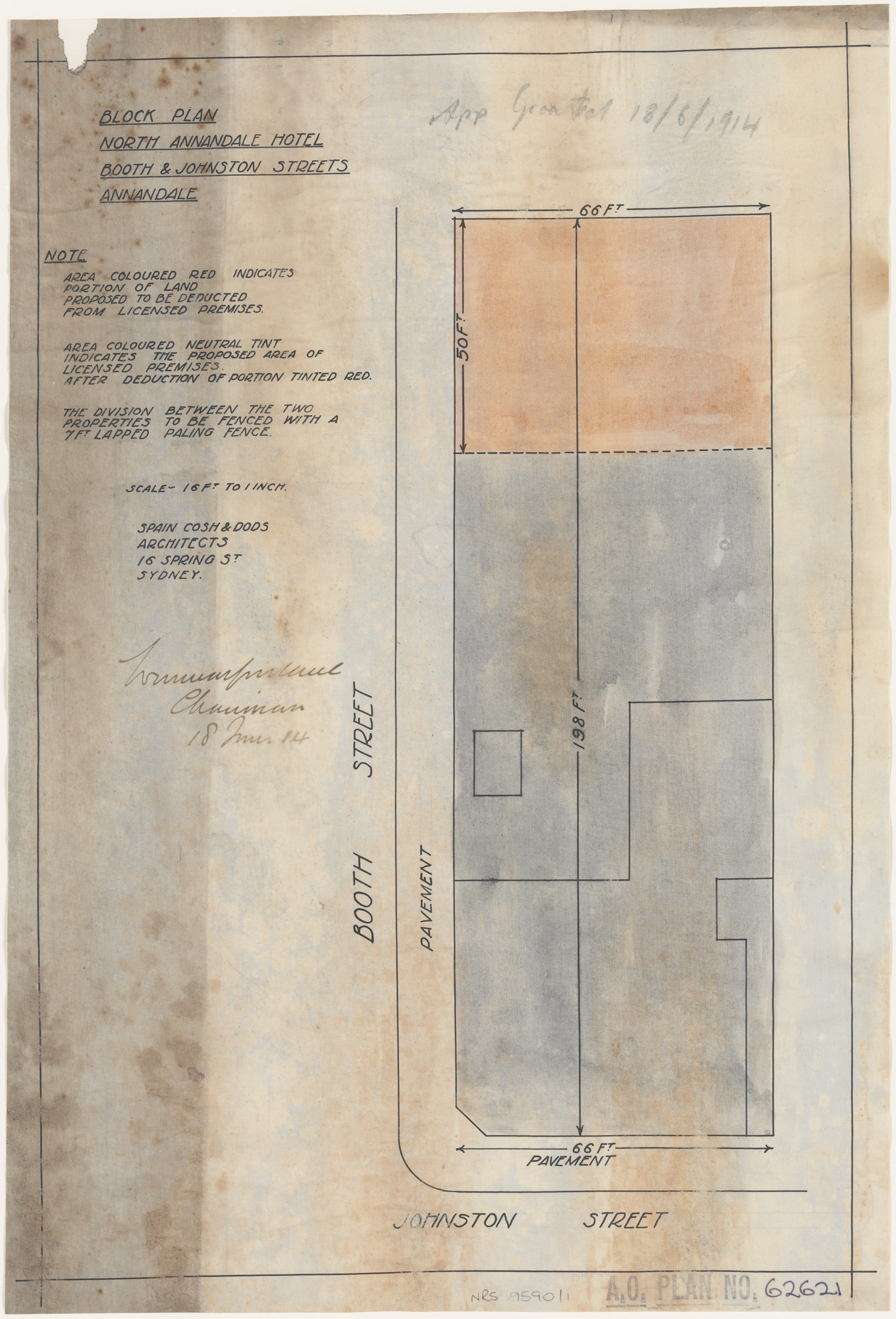 Booth and Johnston Streets, Annandale, Block plan for North Annandale Hotel, Architect Spain, Cosh and Dods, 16 Spring Street, Sydney, Application granted 18 June 1914