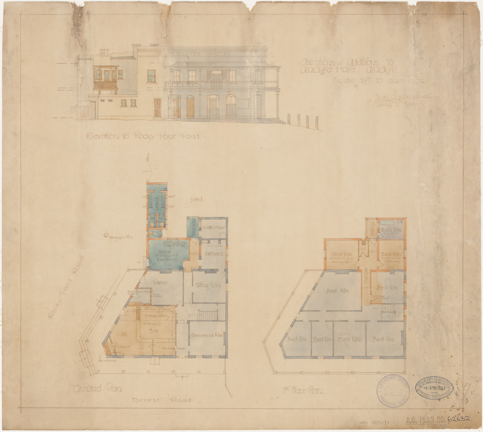 Arncliffe Hotel, Rocky Point and Forrest Roads, Arncliffe, Alterations and additions, ground and first floor plans and elevation to Rock Point Road, Architect Spain, Cosh and Minnett, Spring Street, Sydney, Signed 18 December 1912
