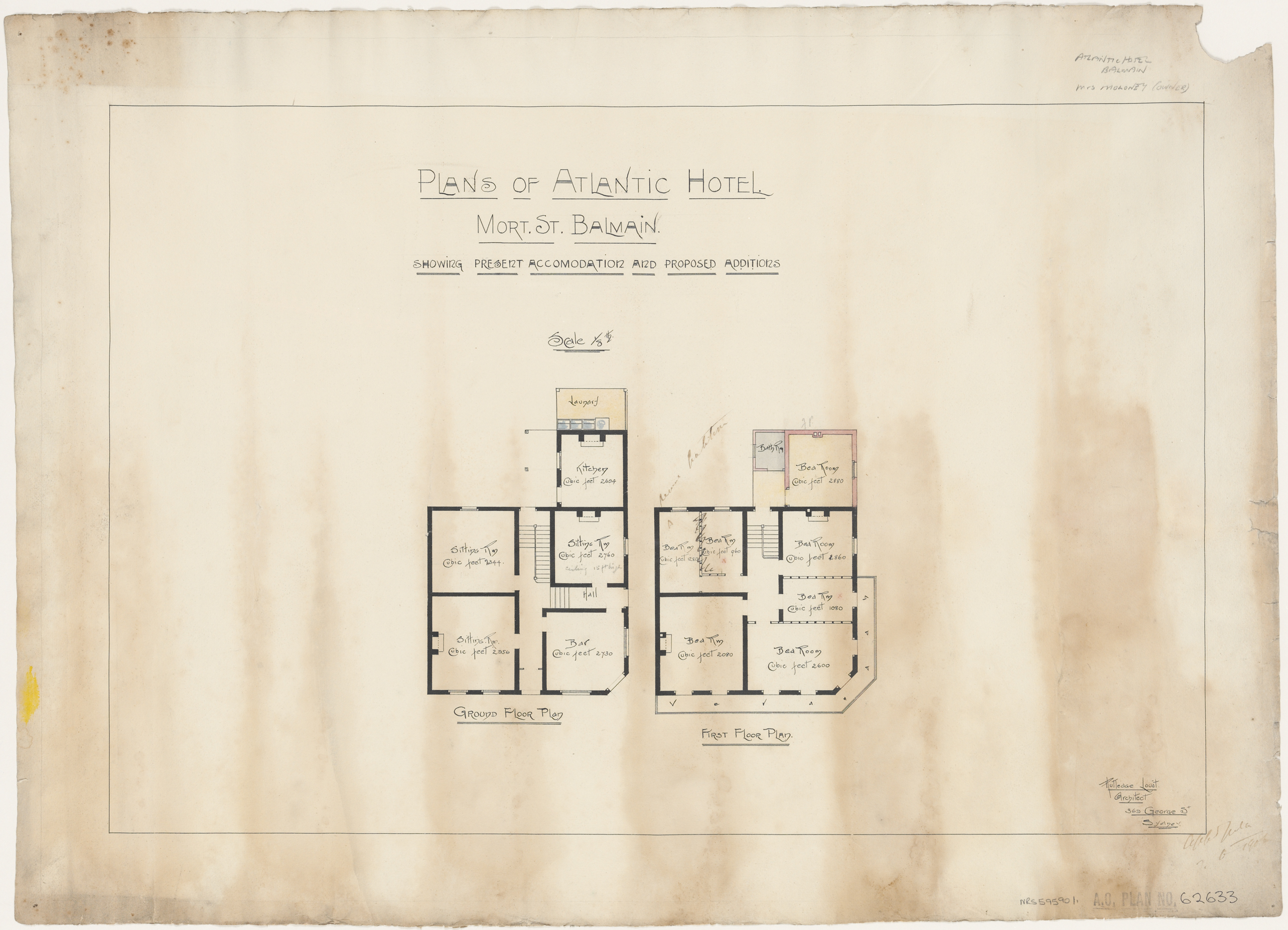 Atlantic Hotel, Mort Street, Balmain, Present accommodation and proposed additions, ground and first floor plan, Applicant/owner, Mrs Moloney, Architect Rutledge Lovat, 369 George Street, Sydney, Application 7 June 1906