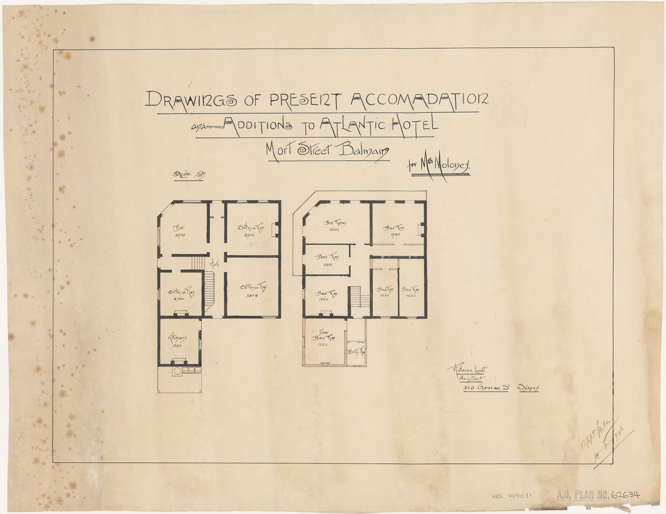 Atlantic Hotel, Mort Street, Balmain, Drawings of present accommodation and proposed additions, Applicant/owner, Mrs Moloney, Architect Rutledge Lovat, 369 George Street, Sydney, approved 10 June 1906