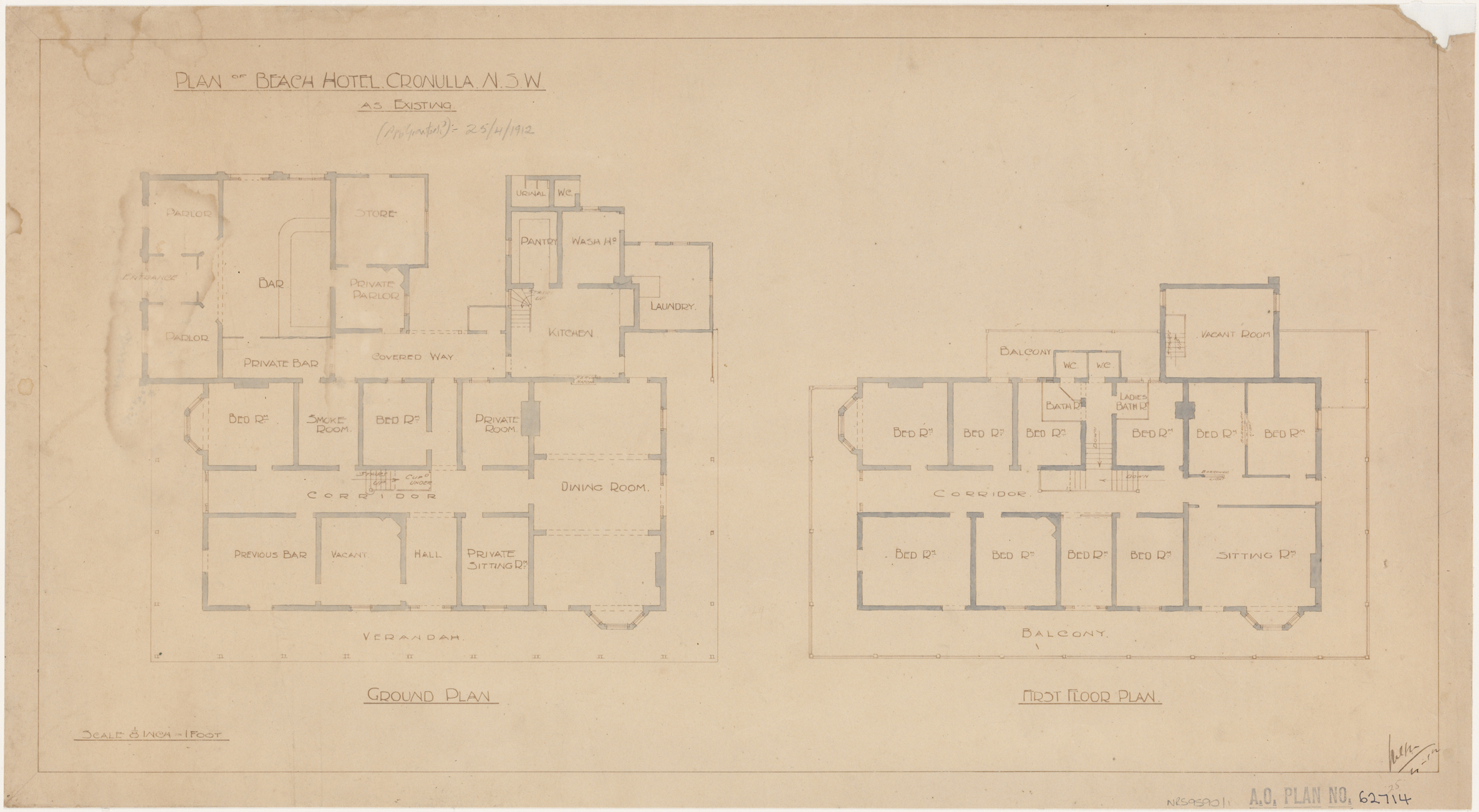 Beach Hotel Cronulla, Cronulla, Plan of hotel as existing, ground and first floor plan.  Initialled 25 April 1912
