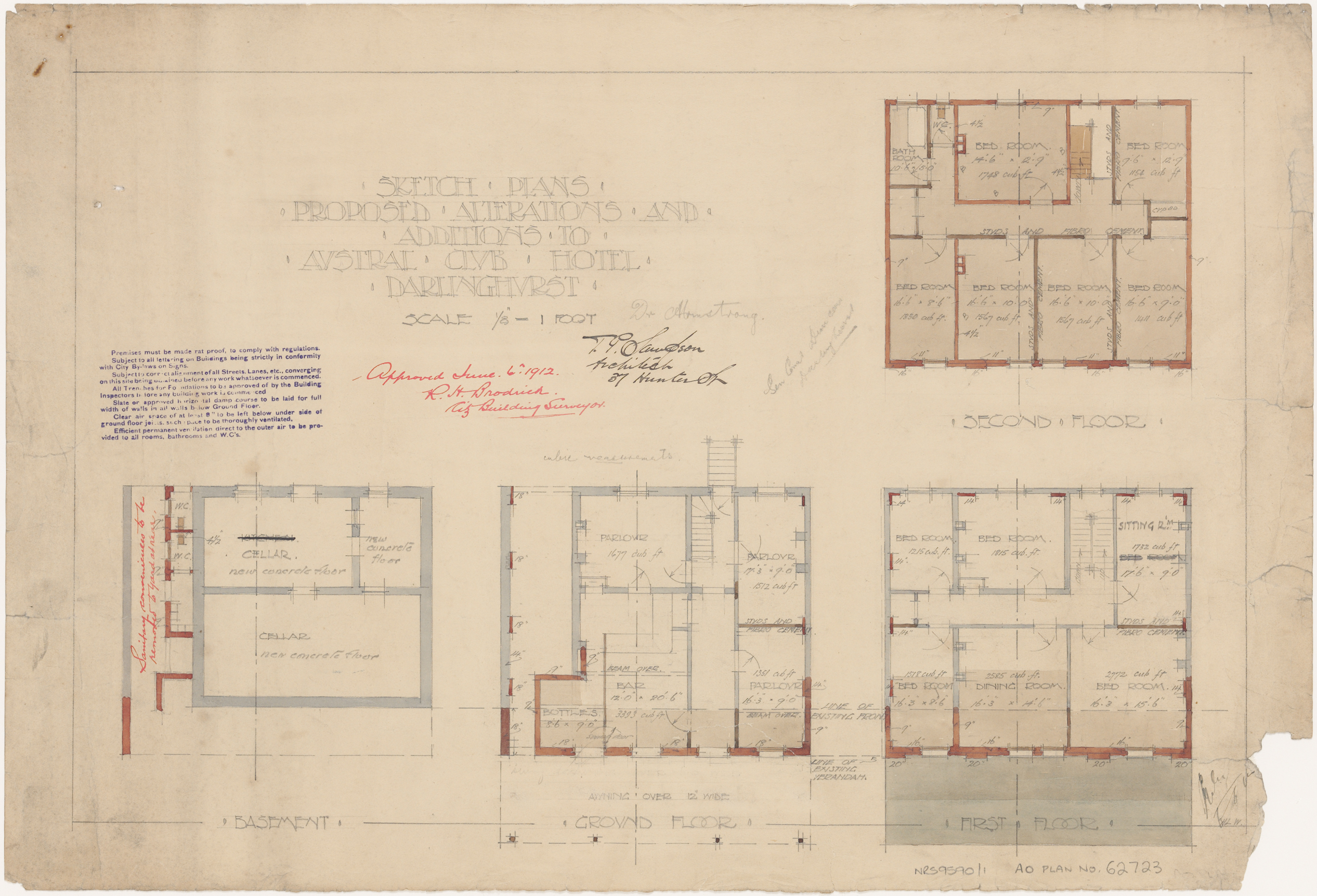 Austral Club Hotel, Darlinghurst, Proposed alterations and additions, basement, ground, first and second floor plans, Architect T P Sampson, 37 Hunter Street, Approved 6 June 1912