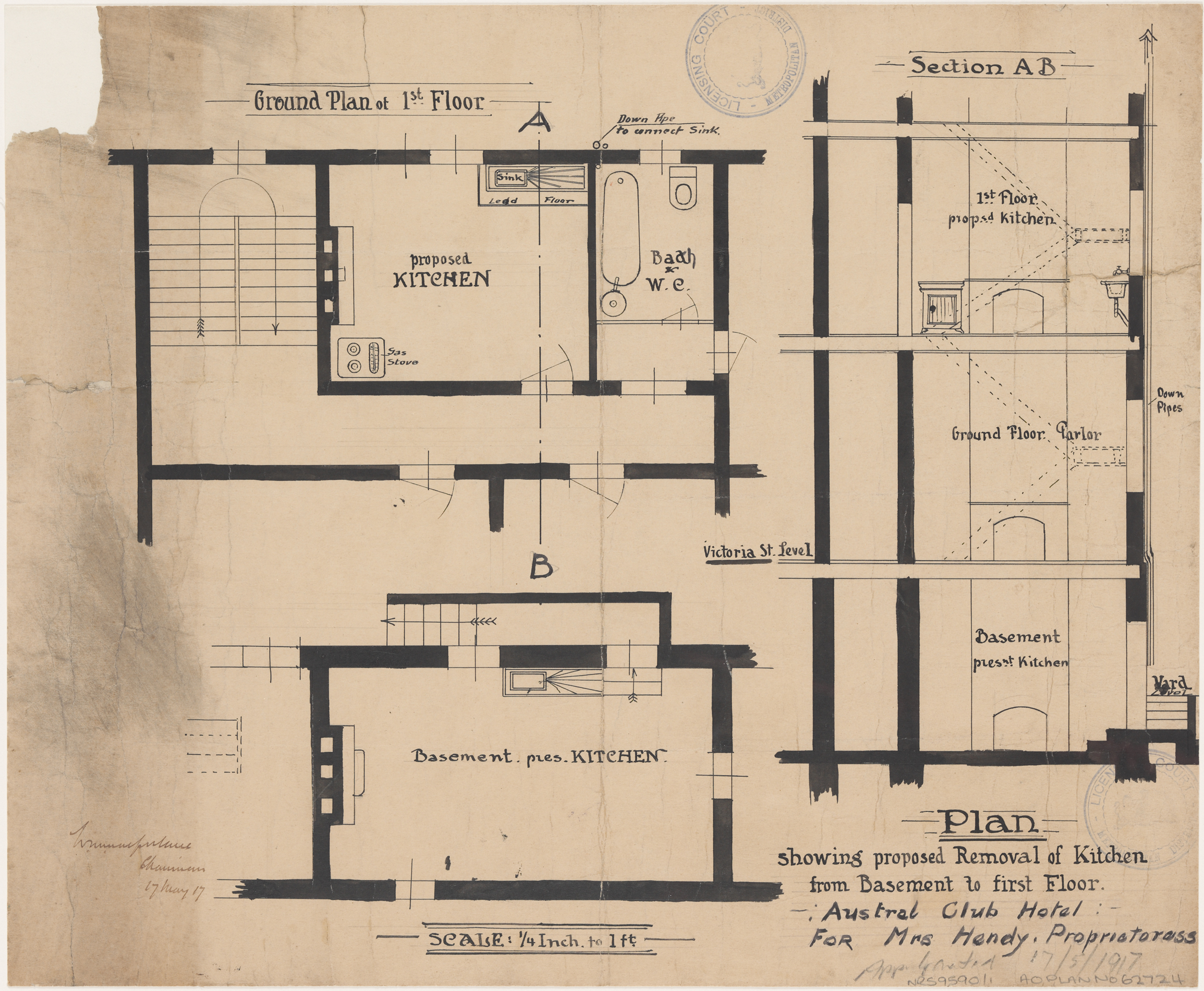 Austral Club Hotel, Victoria Street, Darlinghurst, Plan showing proposed removal of kitchen from basement to first floor, Applicant/owner, Mrs Hendy.  Application lodged, 17 May 1917