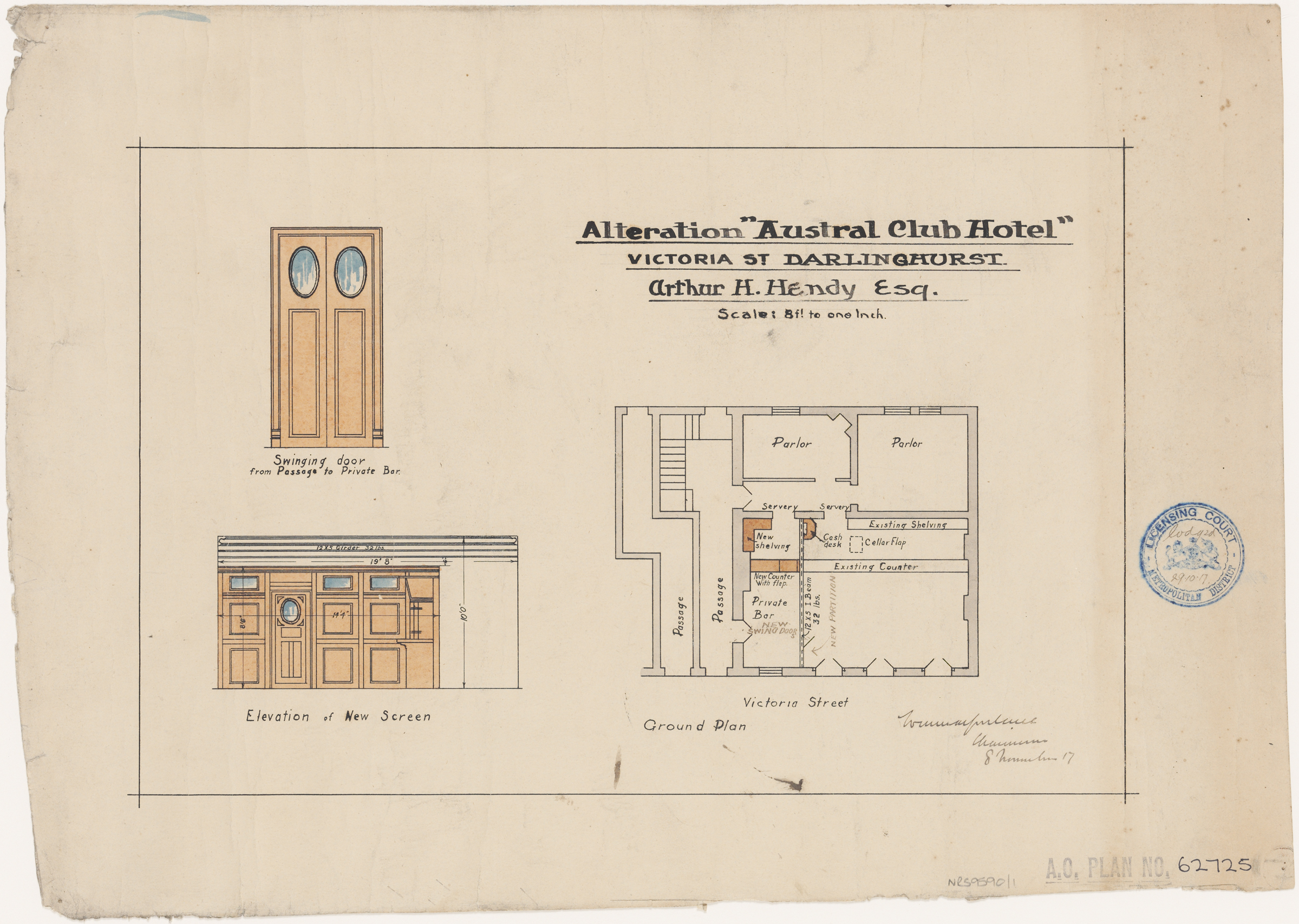 Austral Club Hotel, Victoria Street, Darlinghurst, Alterations, ground floor plan, elevation of new screen, swinging door from passage to private bar, Applicant/owner, Arthur H Hendy Esquire Architect Application lodged 29 October 1917, granted 8 November 1917