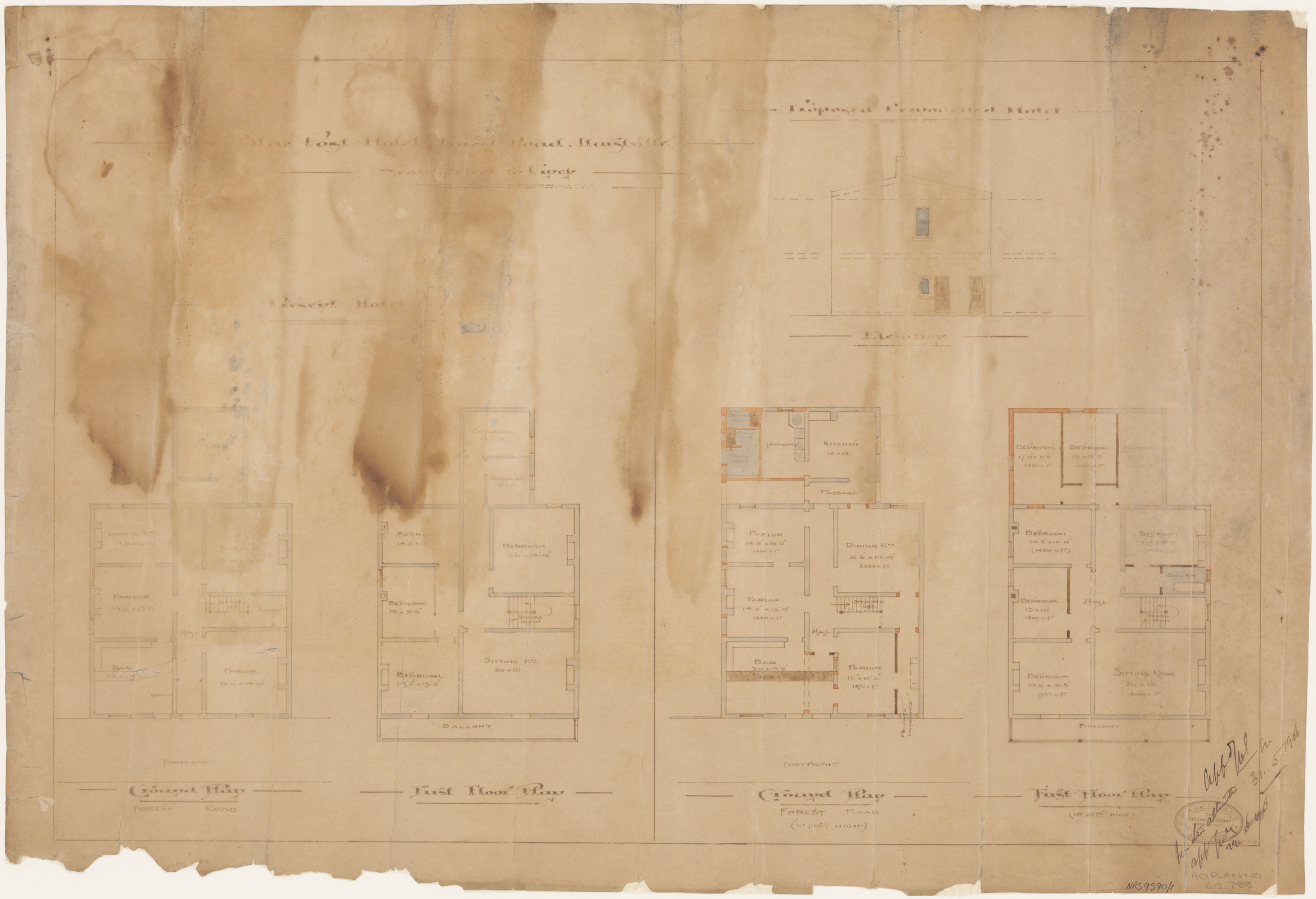 Blue Post Hotel, Forest Road, Hurstville, Plan for remodelled hotel, present and proposed ground and first floor plans, proposed elevation, Applicant/owner, Tooth and Company, Architect M B Halliagan, Equitable Building, George Street, Signed 29 May 1903 and 31 May 1906
