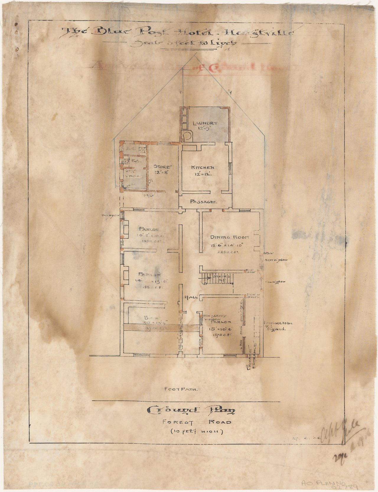 Blue Post Hotel, Forest Road, Hurstville, Amended plan of ground floor, Architect M B Halliagan, Equitable Building, George Street, Signed 29 June 1906