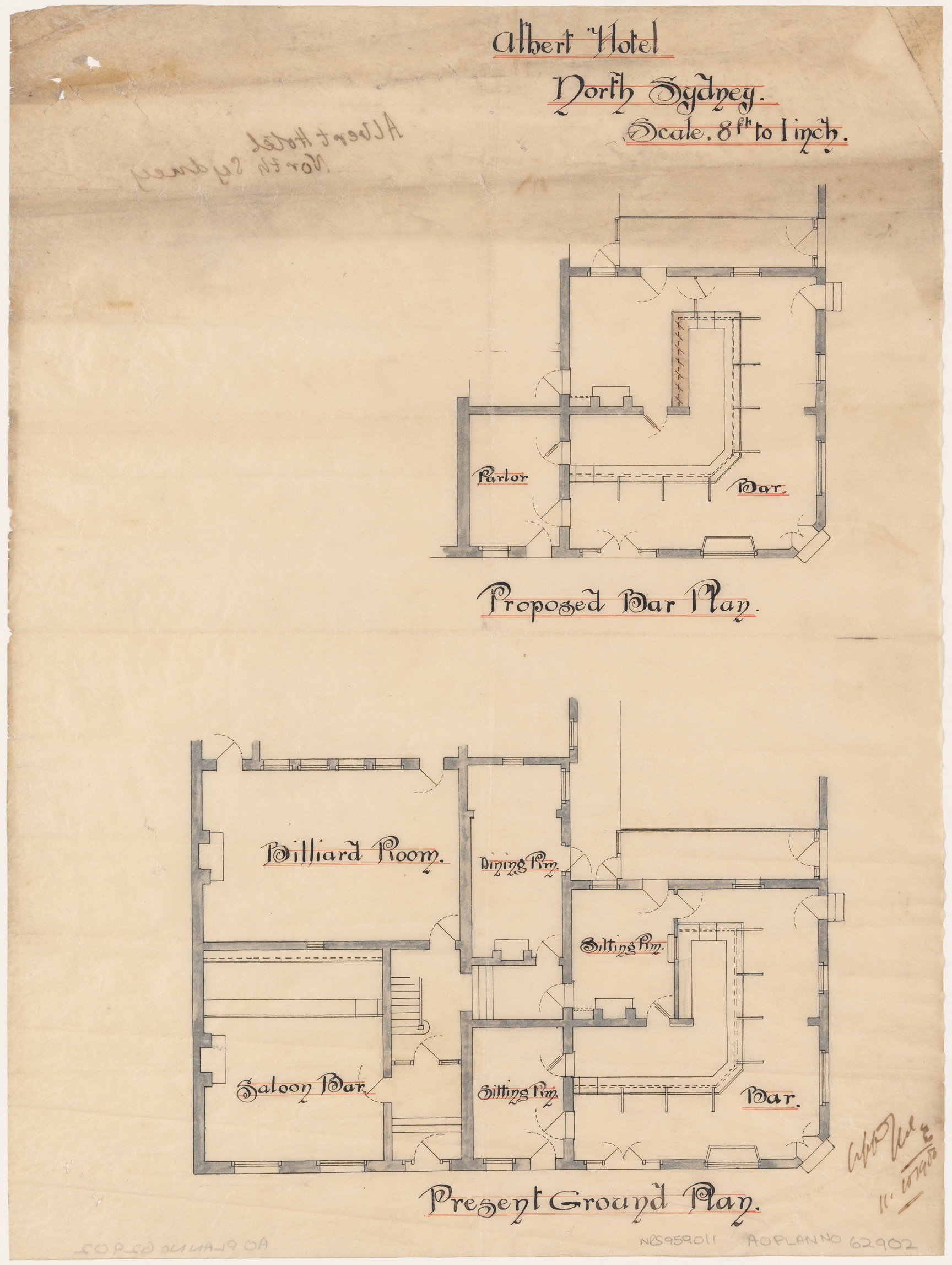 Albert Hotel, Proposed ground floor plan, proposed bar plan.  Signed 11 October 1906