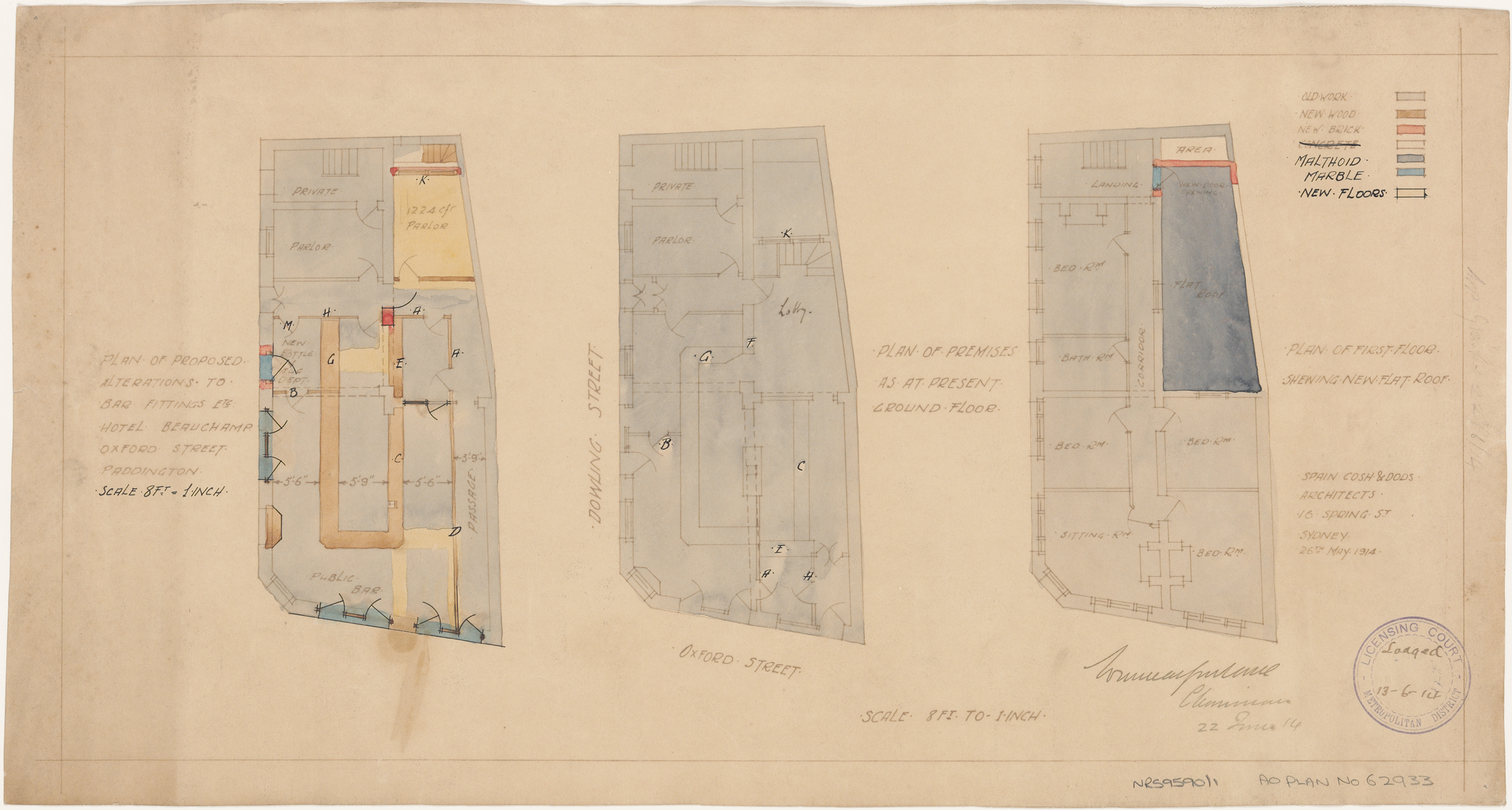 Beauchamp Hotel, Oxford and Dowling Streets, Paddington, Plan of proposed alterations to bar fittings, present ground floor plan, plan of first floor showing new flat roof, Architect Spain, Cosh and Dods, 16 Spring Street, Sydney, Lodged licensing court 13 June 1914, application granted 22 June 1914