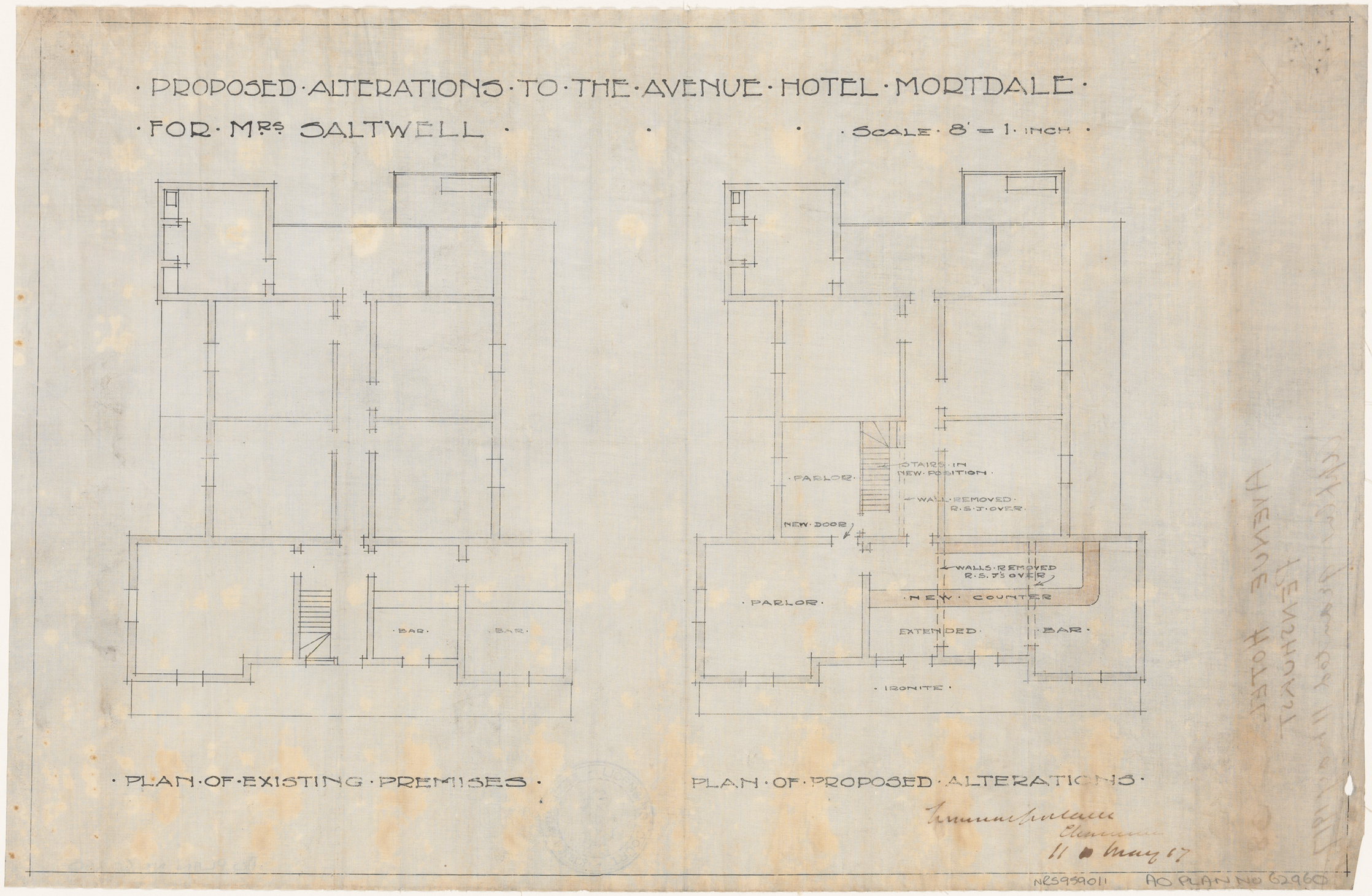 Avenue Hotel, Mortdale, Proposed alterations, plan of existing premises and proposed alterations, Applicant/owner, Mrs Saltwell.  Application Granted 11 May 1917