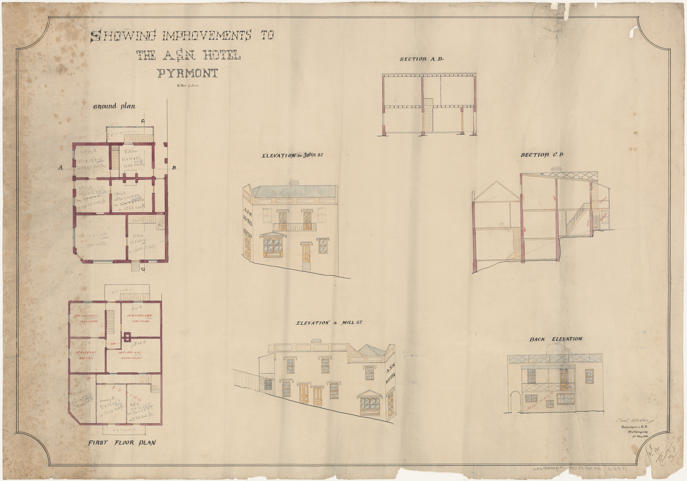 ASN Hotel, John and Mill Streets, Pyrmont, Plan of improvements, ground and first floor plans, back elevation, elevations to Mill Street and John Street and section, Architect Carl Neberg ( Surveyor ) Wollongong, Signed 20 May 1901
