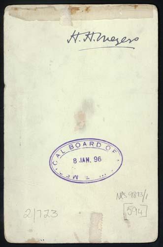 verso - signature of Herbert Henry Meyers