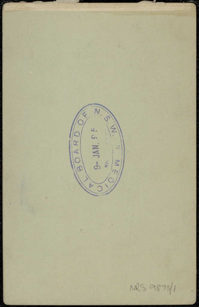 Photograph of Andrew Sarsfield Cassidy doctor [reverse]