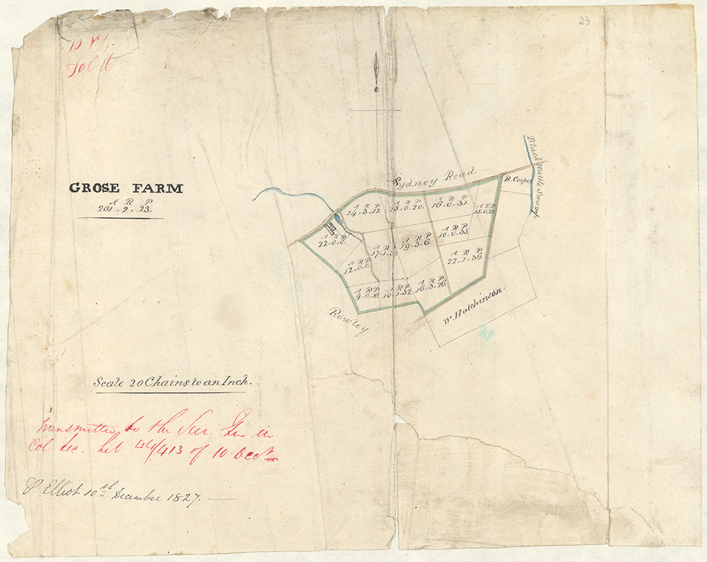 Petersham Grose Farm - Total area of Grose farm viz 201 acres 2 rods 33 perches [Sketch book 1 folio 6]