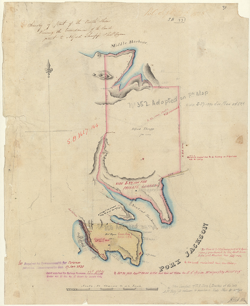 Willoughby - Survey of part of the north Shore shewing the boundaries of the land grant to Alfred Thrupp and Robt [Robert] Ryan [Sketch book 1 folio 23]