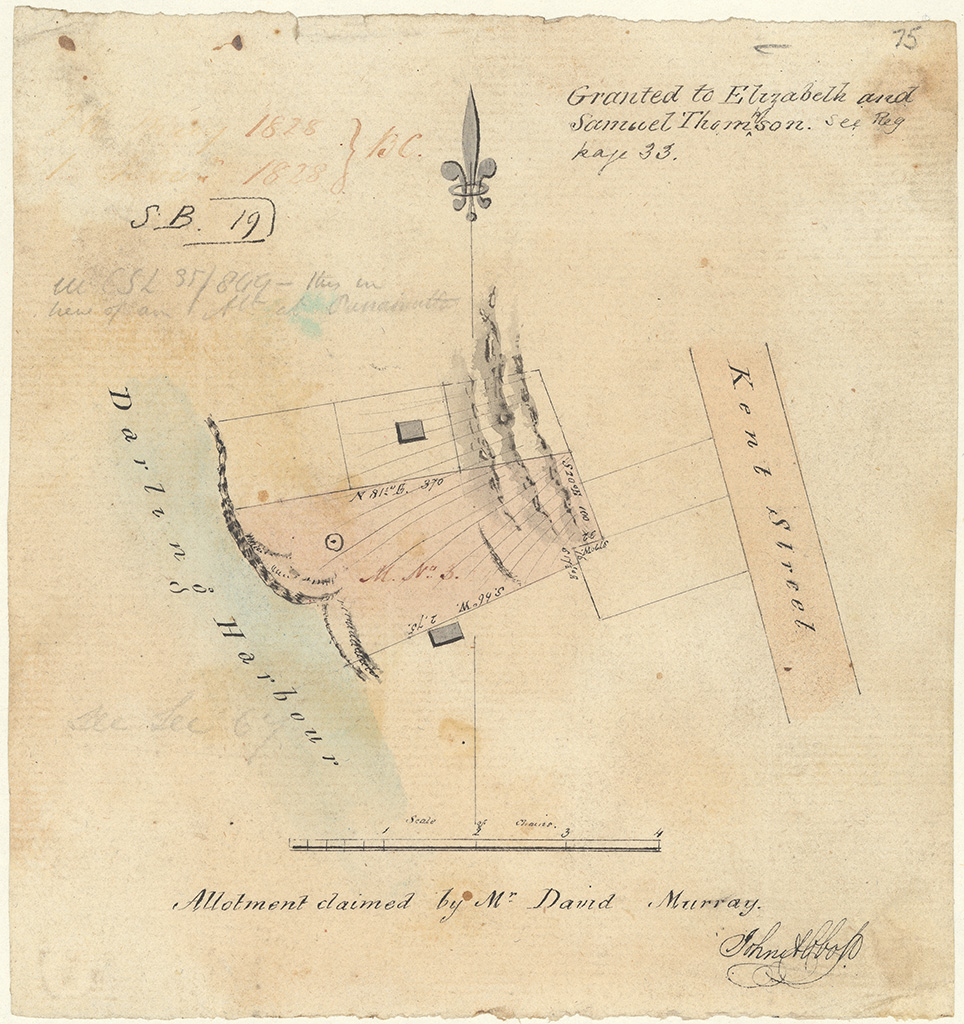 Sydney St Phillip - Granted to Elizabeth and Samuel Thomson. Allotment claimed by Mr David Murray [Sketch book 1 folio 19]