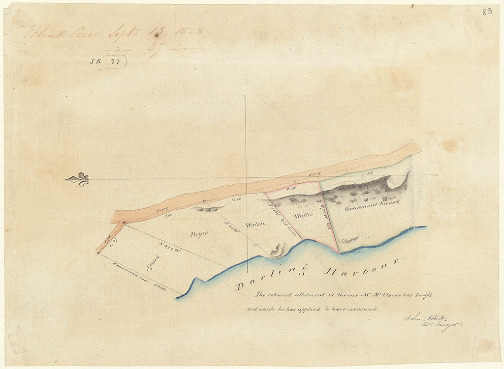 Sydney St Phillip - The coloured allotment is the one Mr McClaren has bought and which he has applied to have measured [Sketch book 1 folio 21]