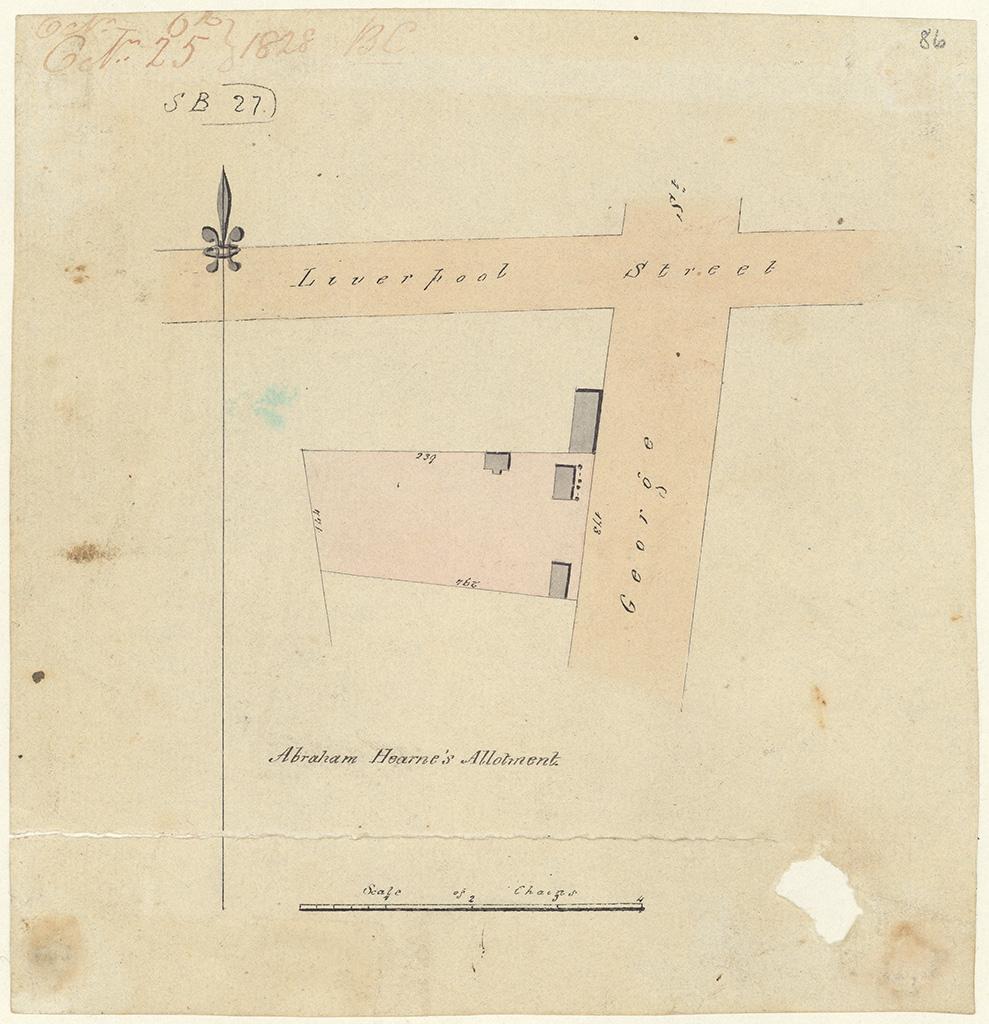 Sydney St Andrew - Abraham Hearne's allotment George Street [Sketch book 1 folio 21]