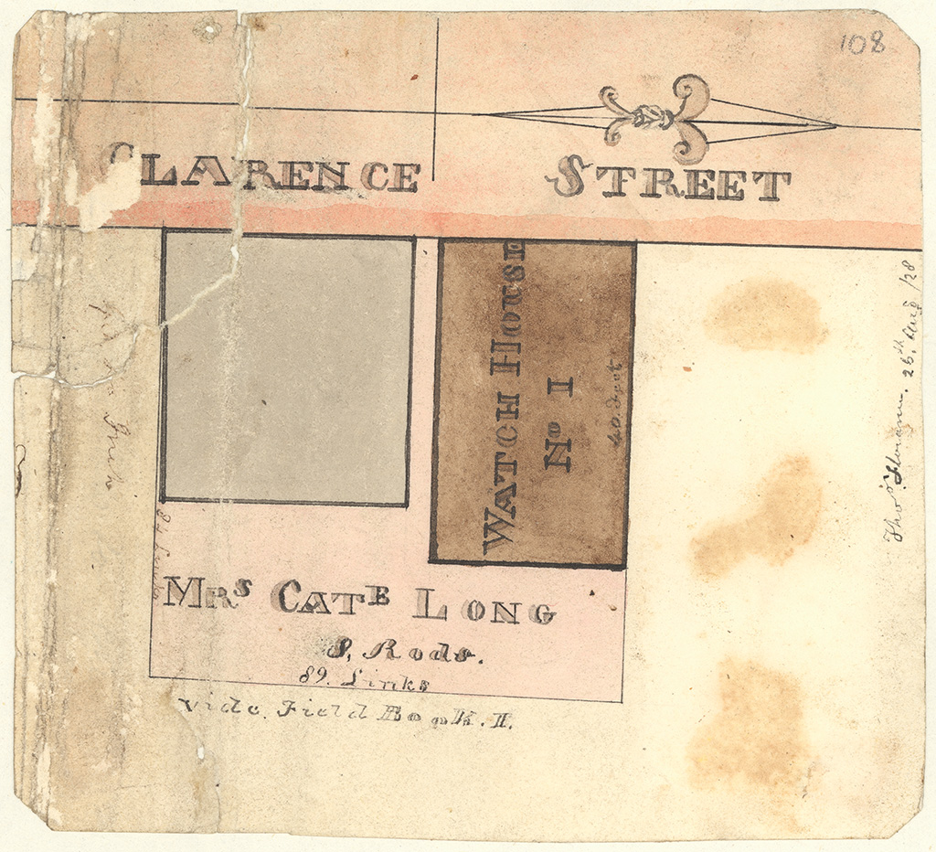 Sydney St Phillip - Watch House Number 1 Clarence St and Mrs Cate Longs allotment adjoining [Sketch book 1 folio 27]