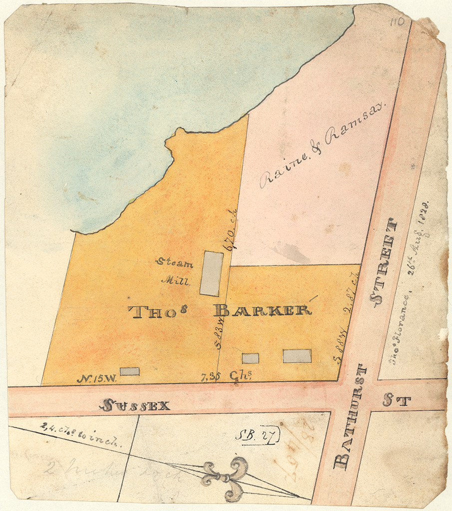 Sydney St Andrew - Thomas Barker's allotement corner of Bathurst and Sussex Streets [Sketch book 1 folio 27]