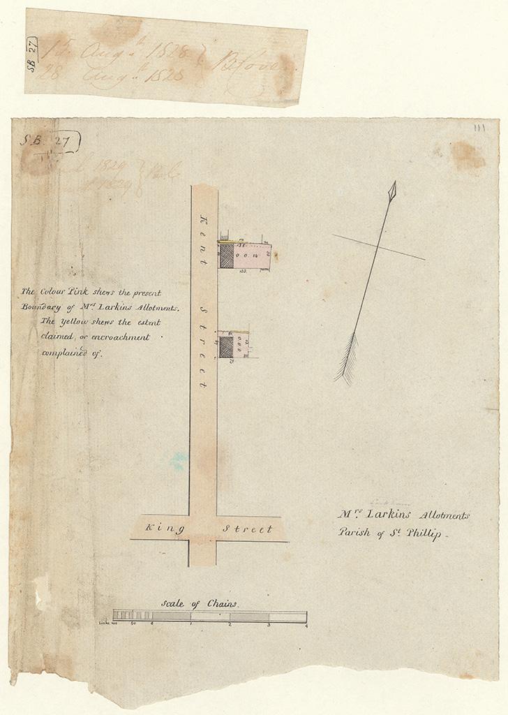 Sydney St Phillip - Mrs Larkins allotments. Parish of St Phillip [Sketch book 1 folio 27]