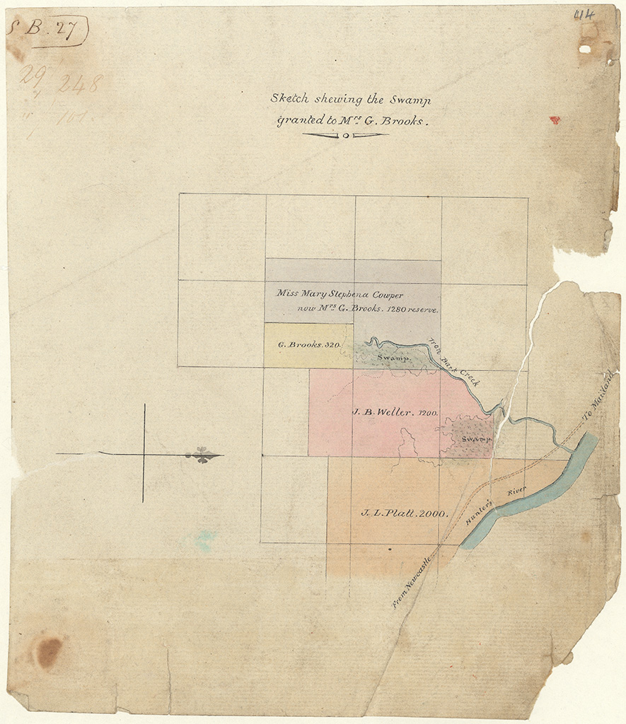 Northumberland County - Sketch shewing the swamp granted to Mrs G. Brooks near Iron Bark Creek [Sketch book 1 folio 27]