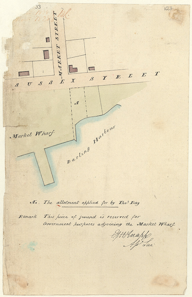 Sydney St Andrew Darling Harbour - The Allotment applied for by Thos [Thomas] Day. This piece of ground is reserved for Government purposes adjoining the Market Wharf. Signed by [E.J.H] Knapp. [Sketch book 1 folio 33]