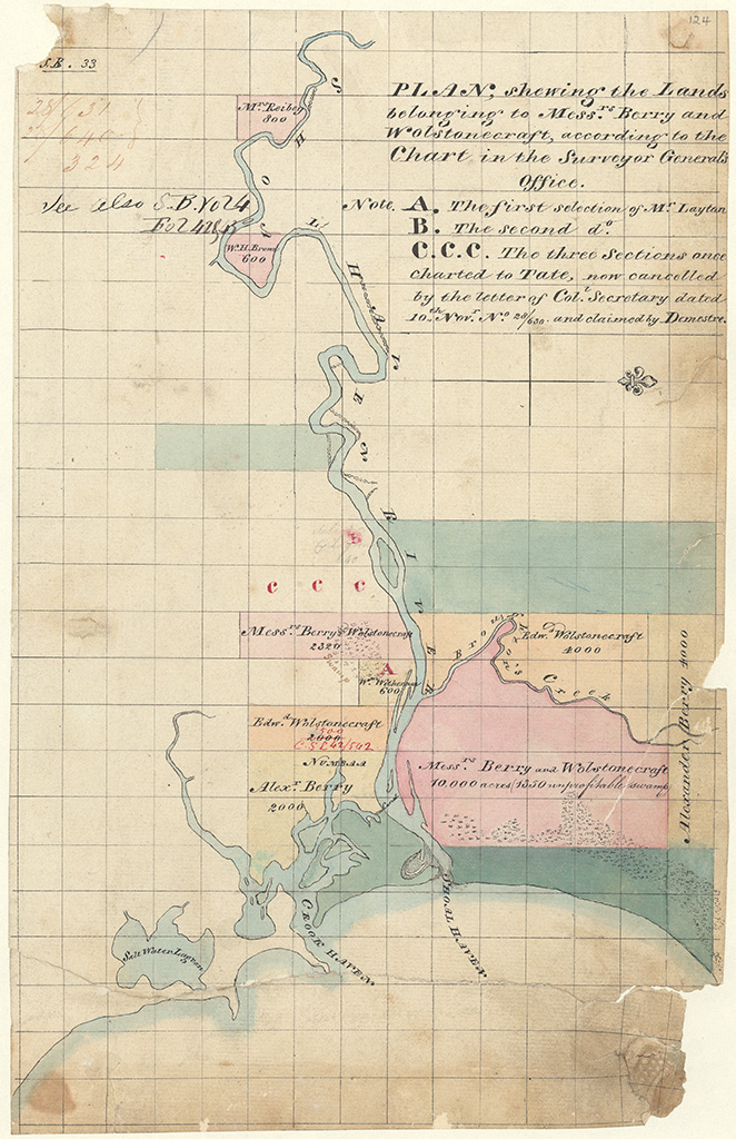 Camden County - Plan shewing the Lands belonging to Messrs Berry and Wolstonecraft according to the Chart in the Surveyor Generals office [Sketch book 1 folio 33]