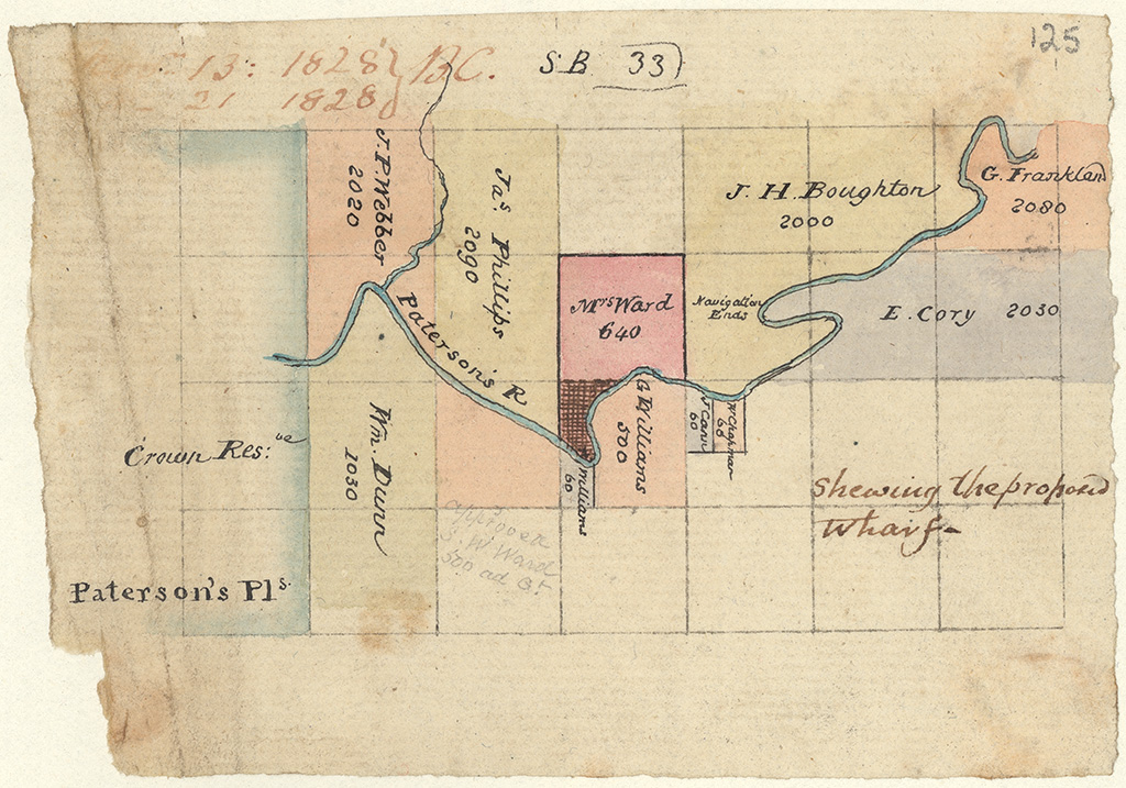 Paterson's River - Shewing the proposed wharf [Sketch book 1 folio 33]
