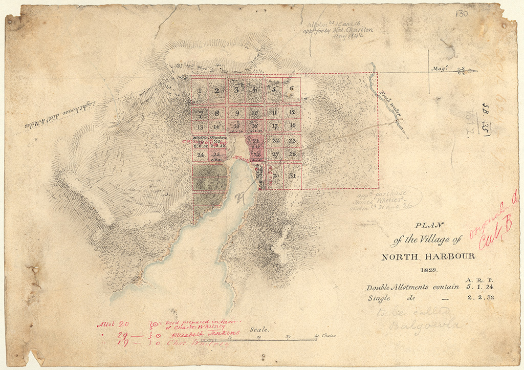 Cumberland County Manly Cove Balgowlah Village - Plan of the Village of North Harbour 1828 [note in pencil reads to be called Balgowla. Sketch book 1 folio 35]
