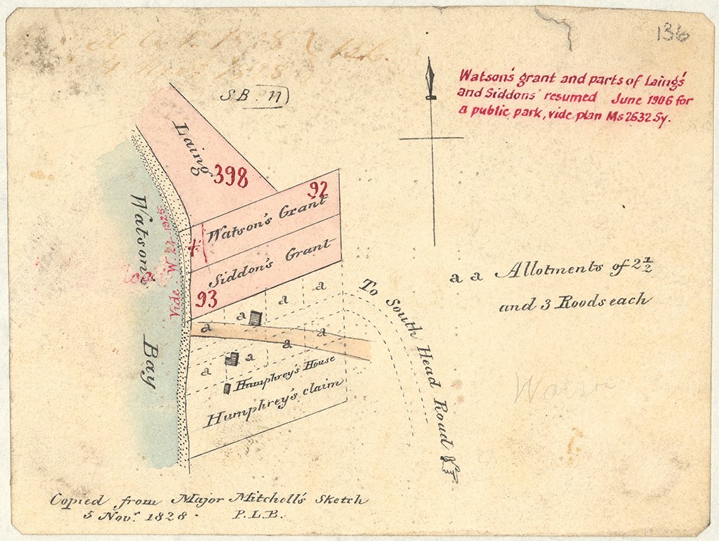 Cumberland County Alexandria Watsons Bay - Copied from Major Mitchell's sketch. Allot [allotment] of 2 1/2 ac [acres] & 3 rods each. [Sketch book 1 folio 11]