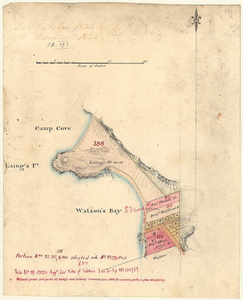 Cumberland County Alexandria Watsons Bay - Watsons Bay Laings 20 acres and Humphreys 4acres and intervening lots. [Sketch book 1 folio 37]