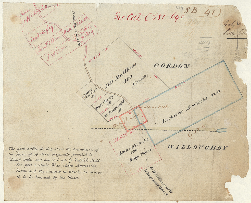 Cumberland County Willoughby - The part outlined Red shews the boundaries of the Farm of 50 Acres originally granted to Edward Quinn and now claimed by Patrick Field. The outlined Blue shews Archibolds Farm and now claimed by Patrick Field [Sketch book1 folio 41]