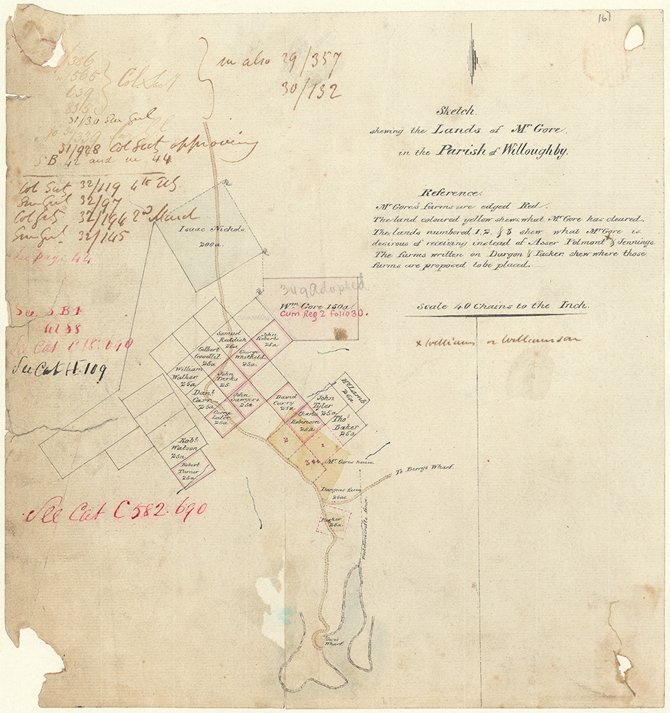 Cumberland County Willoughby - Sketch shewing the Land of Mr Gore in the Parish of Willoughby [Sketch book 1 folio 42 and 44]
