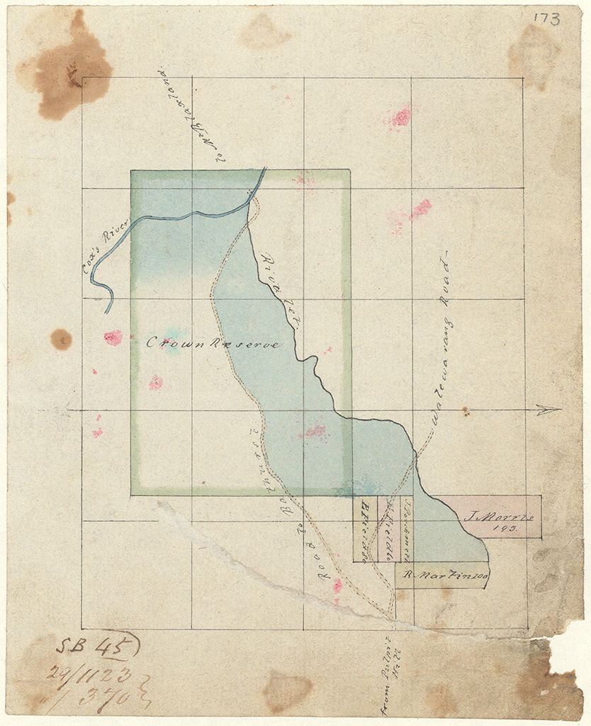 Cook - River Lett with Cox's River Crown Reserve. Road to Bathurst [Sketch book 1 folio 45]