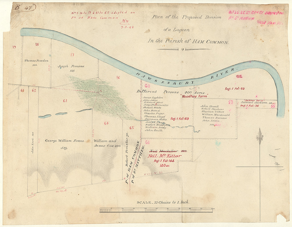 Cumberland County Ham Common - Plan of the Proposed Division of a Lagoon in the Parish of Ham Common [Sketch book 1 folio 47]