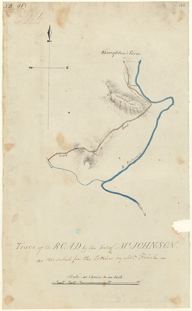 Durham County Paterson's River -Trace of the road by th foot of Mt Johnson as marked for the settlers by Mr Finch. Broughton's Farm, R. [River] Paterson [Sketch book1 folio 51]
