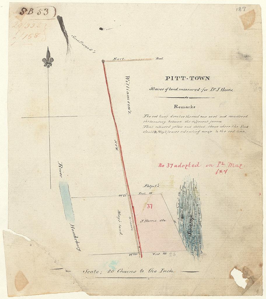 Pitt Town - Pitt Town 50 acres of land measured for Dr J. Harris