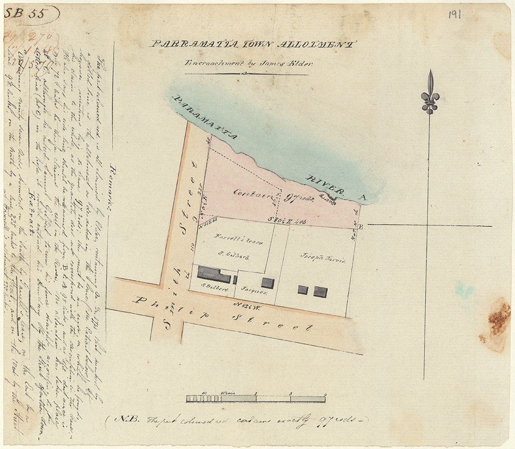 Parramatta - Parramatta Town Allotment Encroachment by James Elder. Phillip St Smith St. Parramatta  River [Sketch book 1 folio 55]