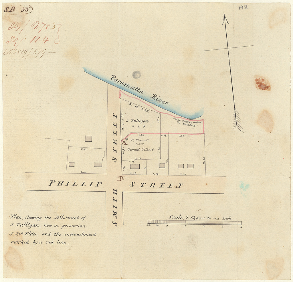 Parramatta - Plan shewing the Allotment of J. Fulligan now in possession of Jas [James] Elder & the encroachment marked by a red line [Sketch book 1 folio 55]