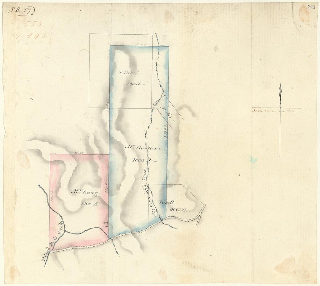 Camden County -  Black Bob's Creek. Mr Lang, R. Driver, Mr Henderson, Mobbs, Sewell [Sketch book 1 folio 59]